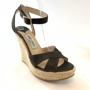 Jimmy Choo ankle strap rope wedge size 39
